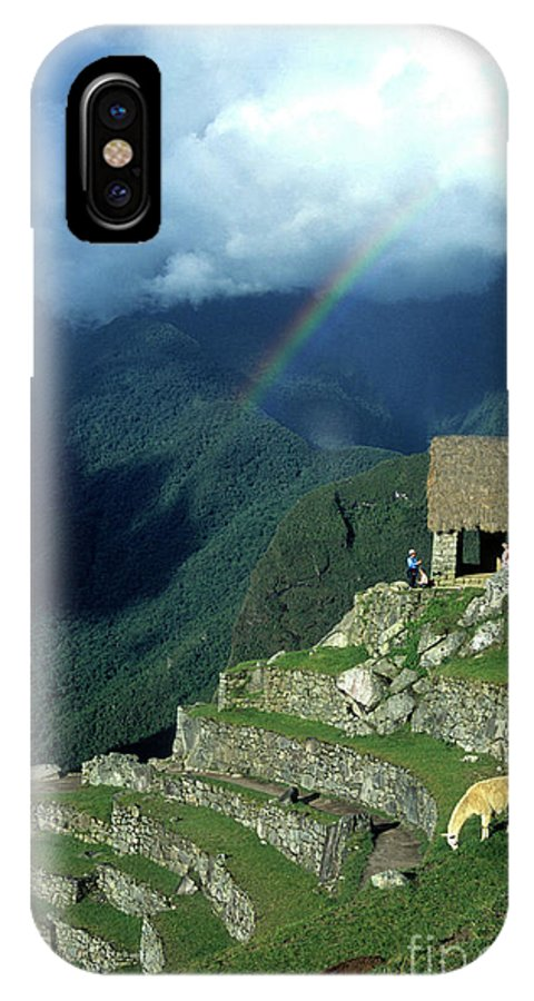 Machu Picchu IPhone Case featuring the photograph Llama And Rainbow At Machu Picchu by James Brunker