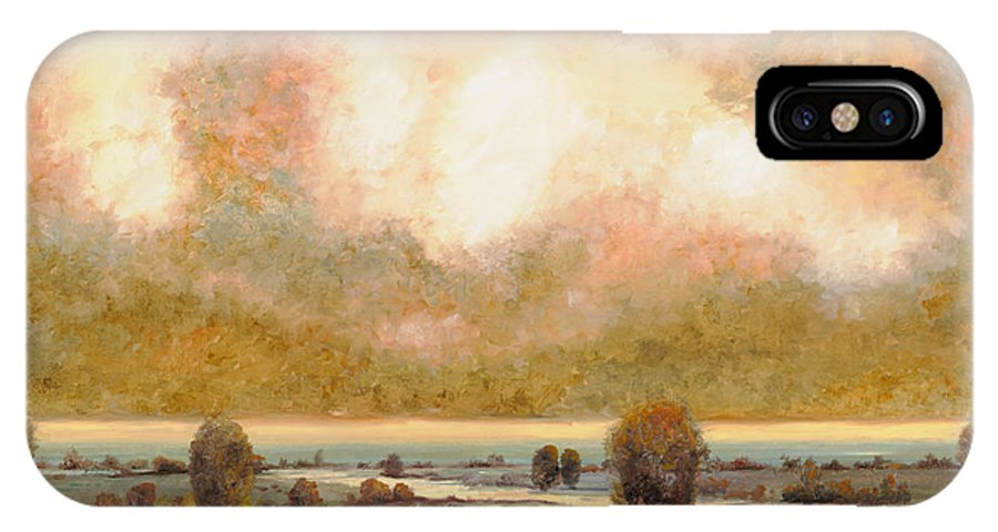 Pond IPhone X Case featuring the painting Lo Stagno Sotto Al Cielo by Guido Borelli