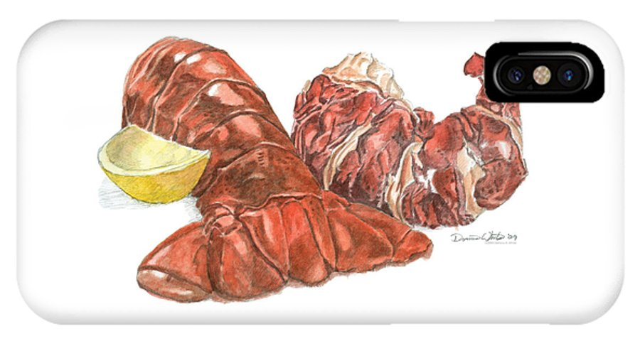 Lobster IPhone X Case featuring the painting Lobster Tail And Meat by Dominic White