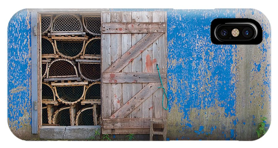 Lobster Trap IPhone X Case featuring the photograph Lobster Trap Storage-2 by Steve Somerville