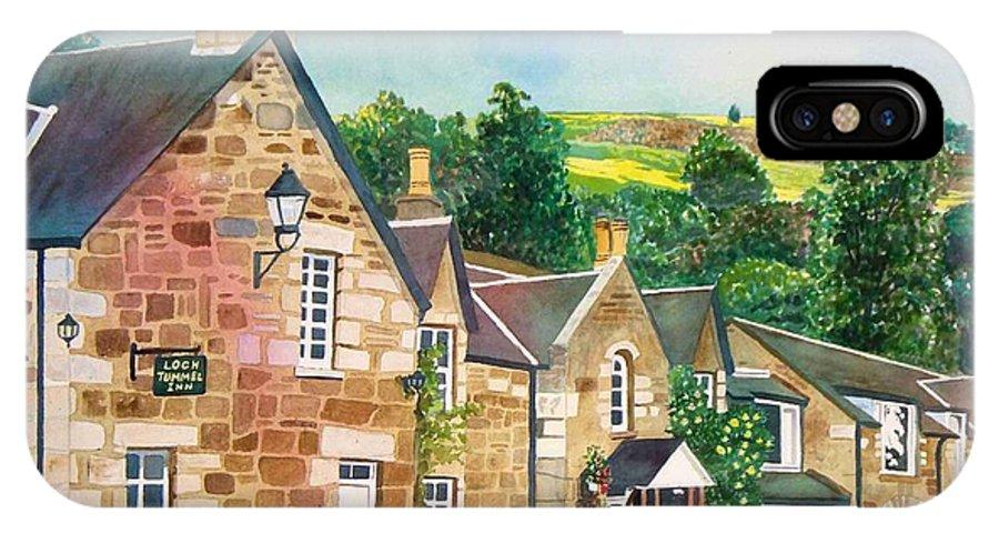 Landscape IPhone X Case featuring the painting Loch Tummel Innn - Scotland by LeAnne Sowa