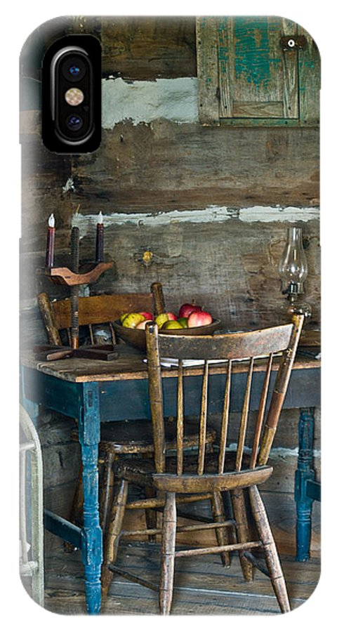 Log IPhone X Case featuring the photograph Log Cabin and Childs Table by Douglas Barnett