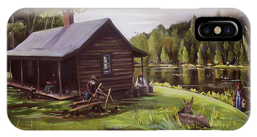Log Cabin By The Lake IPhone X Case featuring the painting Log Cabin By The Lake by Nancy Griswold