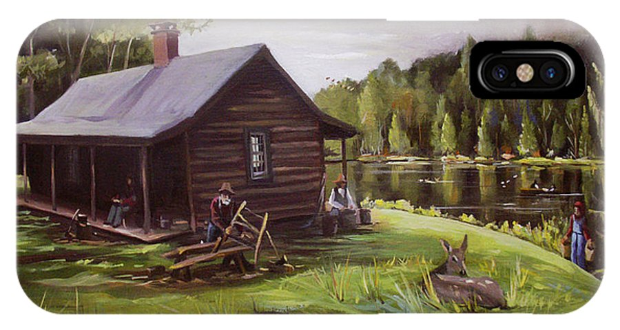 Log Cabin IPhone X Case featuring the painting Log Cabin By The Lake by Nancy Griswold