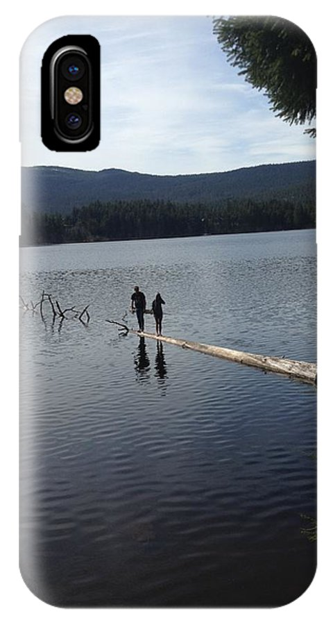 Landscape IPhone X Case featuring the photograph Log In A Lake by Erik Roeser
