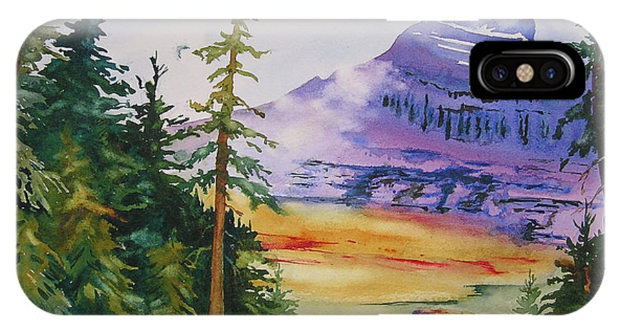 Landscape IPhone X Case featuring the painting Logan Pass by Karen Stark