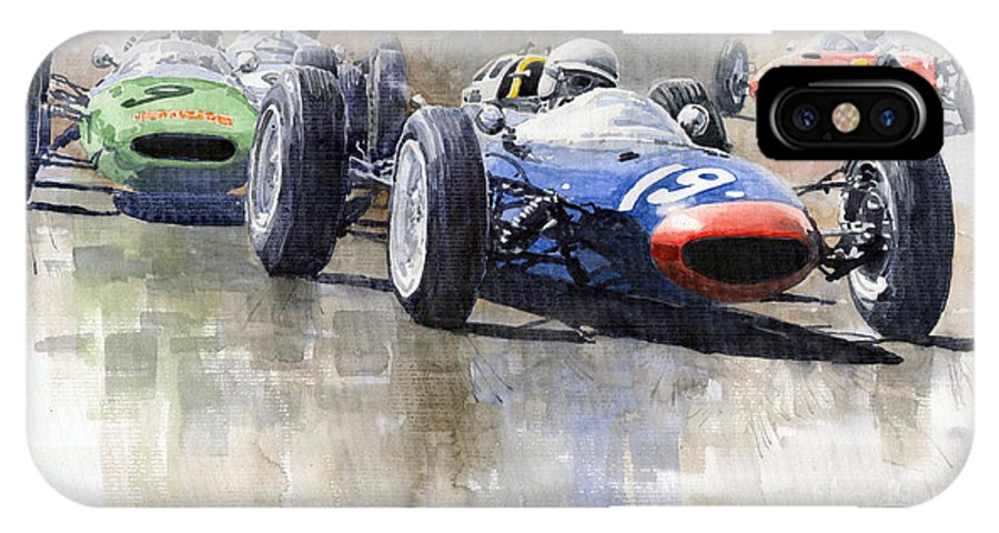 Automotive IPhone X Case featuring the painting Lola Lotus Cooper Ferrari Datch GP 1962 by Yuriy Shevchuk