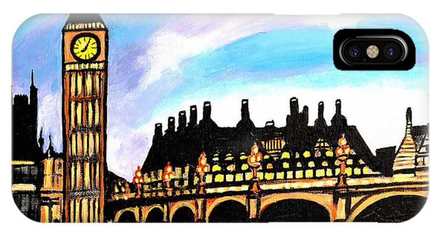 London IPhone X Case featuring the painting London After Eight by Art by Danielle