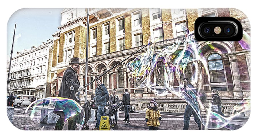 Street Artist IPhone X Case featuring the photograph London Bubbles B by Alex Art and Photo