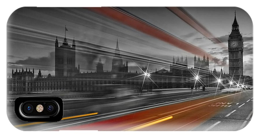 British IPhone X Case featuring the photograph London Red Bus by Melanie Viola