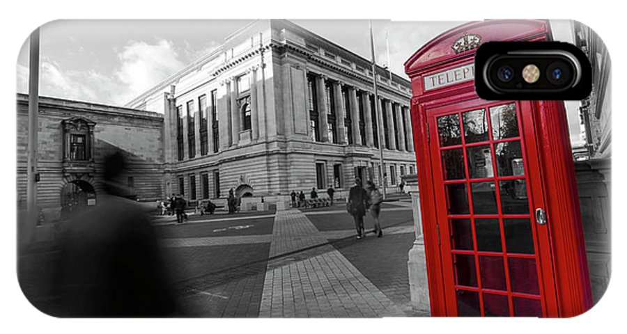 Big Ben IPhone X Case featuring the photograph London Telephone 2 B by Alex Art and Photo