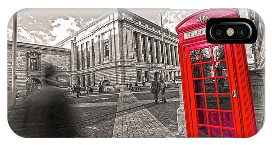Big Ben IPhone X Case featuring the photograph London Telephone 2 C by Alex Art and Photo