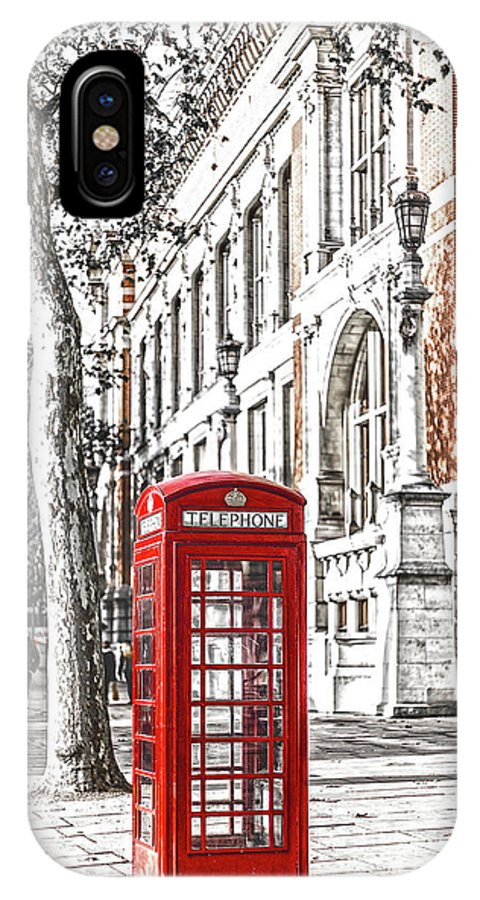 London Red Telephone IPhone X Case featuring the photograph London Telephone B by Alex Art and Photo