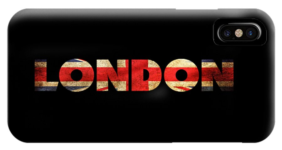 London IPhone X Case featuring the drawing London Vintage British Flag Tee by Edward Fielding