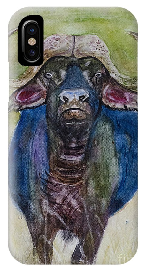 Landscape Animal Portrait Wildlife Nature Africa African Cape Buffalo Horns Savannah Grassland Samanvitha Rao Watercolor Painting Safari Kenya Tanzania Namibia Botswana Masai Mara Serengheti Big Five Cattle Cow Bull Ox Oxen  IPhone X Case featuring the painting Lone Cape Buffalo by Samanvitha Rao