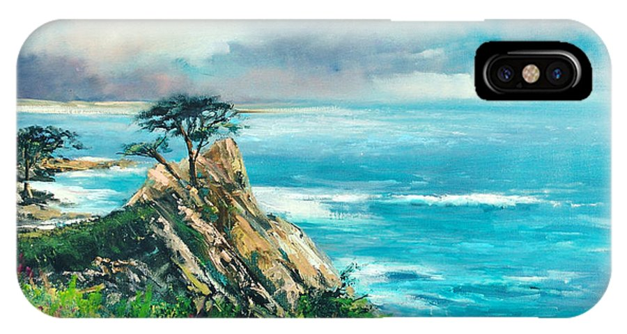 Seascape IPhone X Case featuring the painting Lone Cypress by Sally Seago