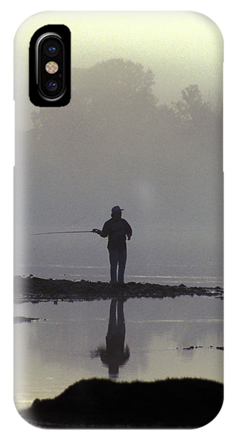 Early IPhone X Case featuring the photograph Lone Fisherman by Carl Purcell