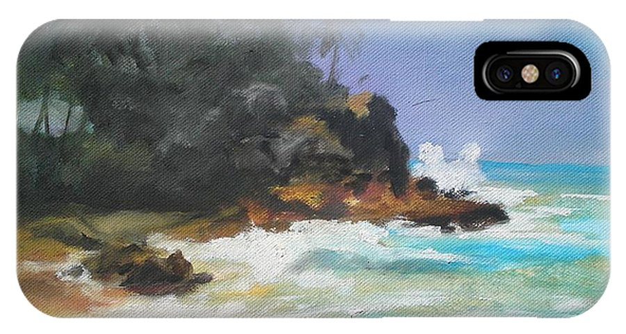 Seascape IPhone X Case featuring the painting Lonely sea by Rushan Ruzaick