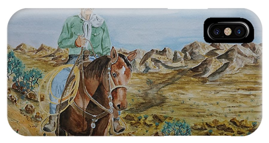 Cowboy IPhone X Case featuring the painting Lonesome Trail by Gary Thomas