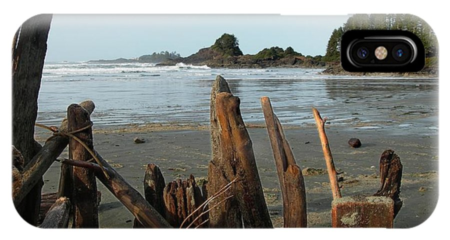 Wood IPhone X Case featuring the photograph Long Beach, Tofino by Sheryl R Smith
