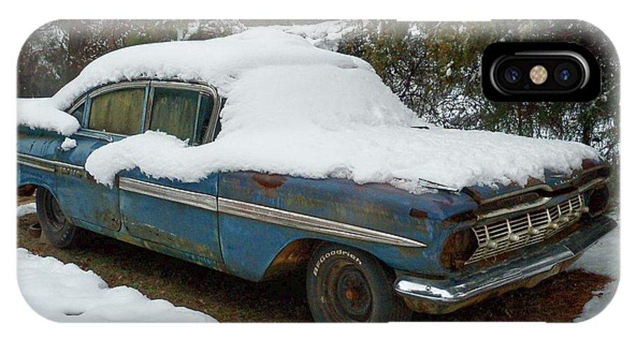 Impala IPhone X Case featuring the photograph Long Cool Blue Impala by Deborah Montana