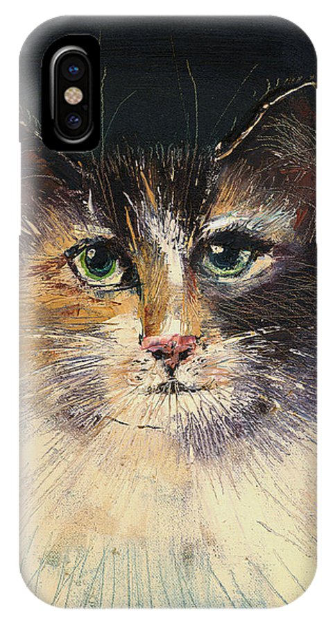 Cat IPhone X Case featuring the painting Long Haired Cat by Arline Wagner