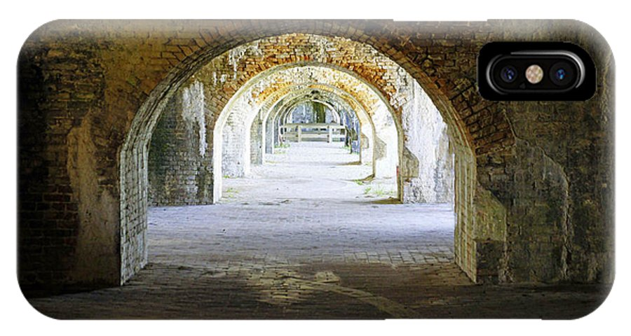 Fort IPhone X Case featuring the photograph Long Hall At Fort Pickens by Laurie Perry