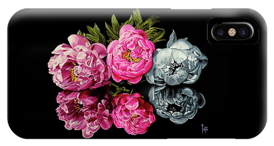 Flower IPhone X Case featuring the painting Long Life, Honor And Wealth Has Variable Colors by Jette Van der Lende