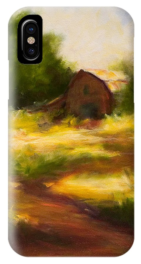 Landscape IPhone X Case featuring the painting Long Road Home by Shannon Grissom