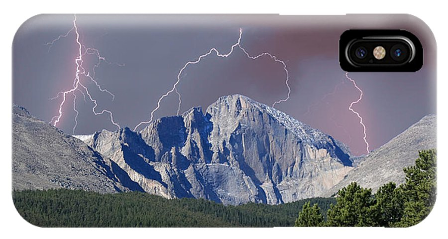 Longs Peak IPhone X Case featuring the photograph Longs Peak Lightning Storm Fine Art Photography Print by James BO Insogna