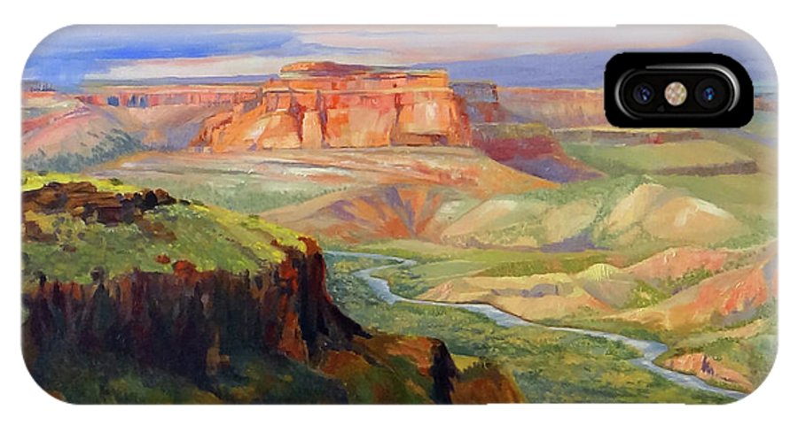 Landscape IPhone X Case featuring the painting Look out at White Rock by Nancy Paris Pruden