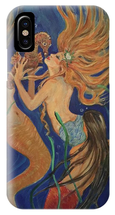 3 Mermaids Under The Sea. Blues IPhone X Case featuring the painting Look What I Found by Charme Curtin