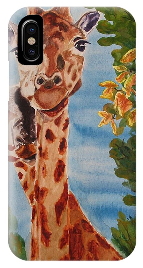 Giraffes IPhone Case featuring the painting Lookin Back by Karen Ilari