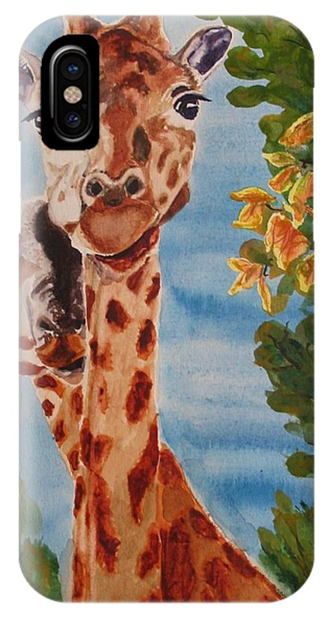 Giraffes IPhone X Case featuring the painting Lookin Back by Karen Ilari