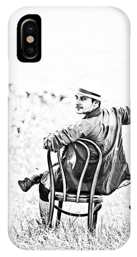Man; Male; Person; Portrait; Young; Handsome; Vintage; Black And White; Bw; Old; Outdoor; Fine Art; Artistic; Unusual; Looking Back IPhone X Case featuring the photograph Looking Back by Gabriela Insuratelu