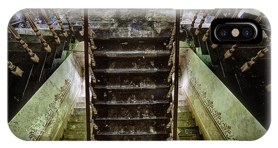 Castle IPhone X Case featuring the photograph Looking Down The Stairs - Urban Exploration by Dirk Ercken