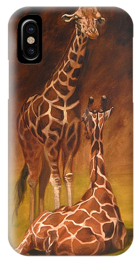 Oil IPhone X Case featuring the painting Looking Out For Each Other by Greg Neal