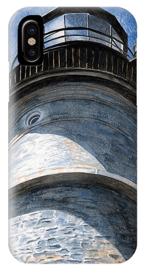 Lighthouse IPhone X Case featuring the painting Looking Up Portland Head Light by Dominic White