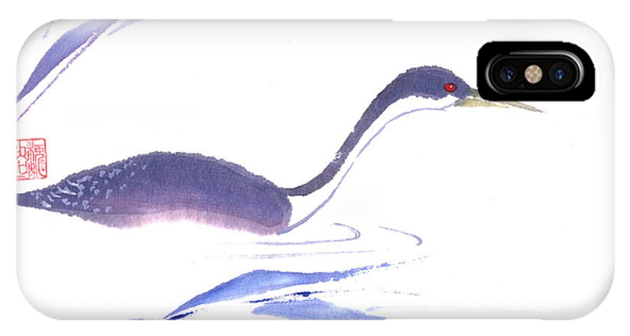 A Lone Loon Swimming Through The Tall Grass. This Is A Contemporary Chinese Ink And Color On Rice Paper Painting With Simple Zen Style Brush Strokes.  IPhone X Case featuring the painting Loon by Mui-Joo Wee
