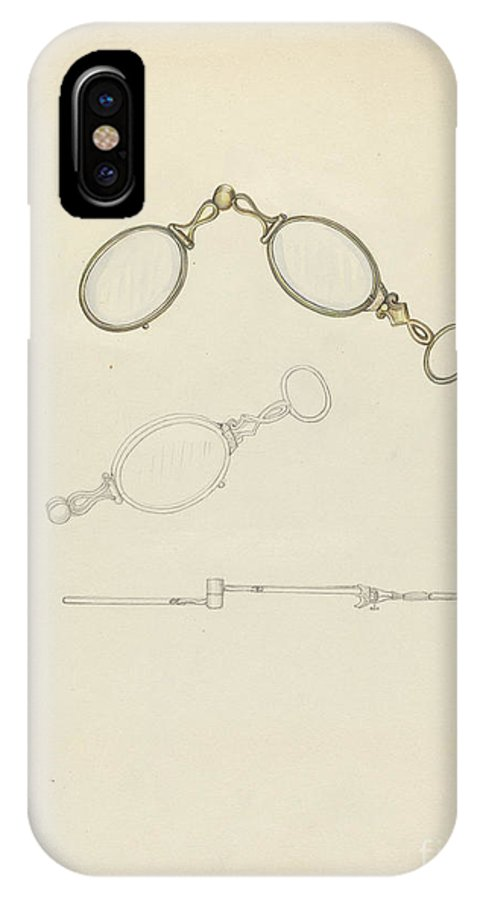 IPhone X Case featuring the drawing Lorgnette by Sylvia De Zon