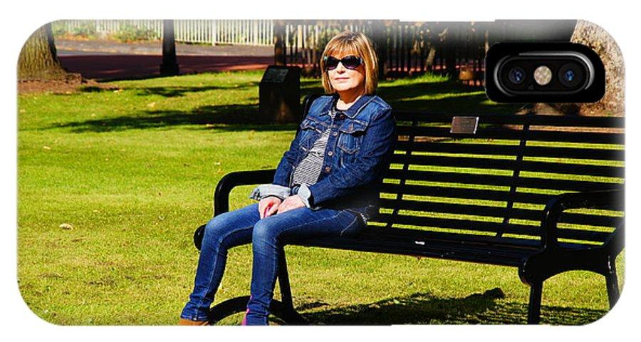Nik Watt IPhone X Case featuring the photograph Lorna On A Bench by Nik Watt