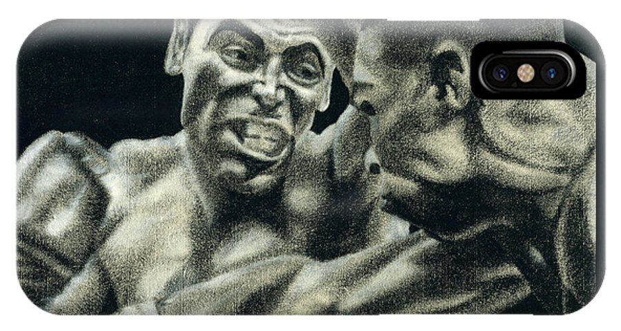 Boxing IPhone X / XS Case featuring the drawing Los Guerreros by Roberto Valdes Sanchez