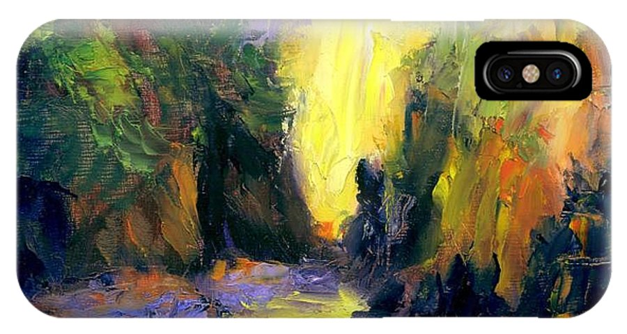 Landscape IPhone X Case featuring the painting Lost Creek by Gail Kirtz