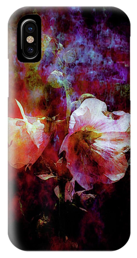 Lost IPhone X Case featuring the photograph Lost Hollyhock Burning In The Dark Digital Painting 1358 Ldp_2 by Steven Ward