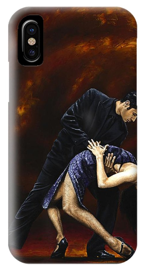 Tango IPhone X Case featuring the painting Lost In Tango by Richard Young