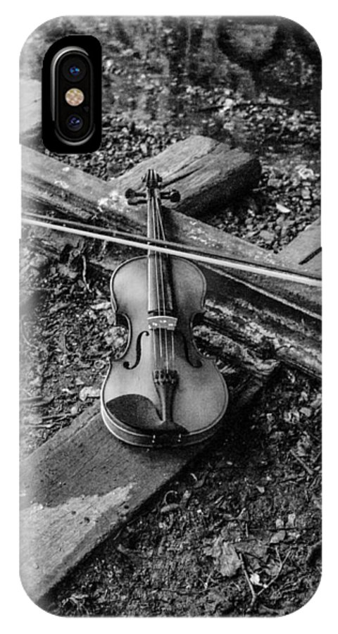 Violin Train Tracks IPhone X Case featuring the photograph Lost Violin by Gerald Kloss