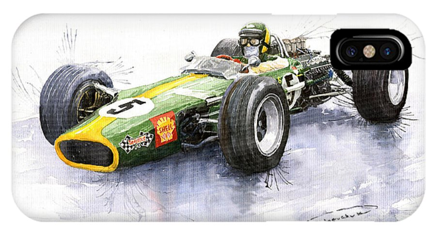 Watercolour IPhone X Case featuring the painting Lotus 49 Ford F1 Jim Clark by Yuriy Shevchuk