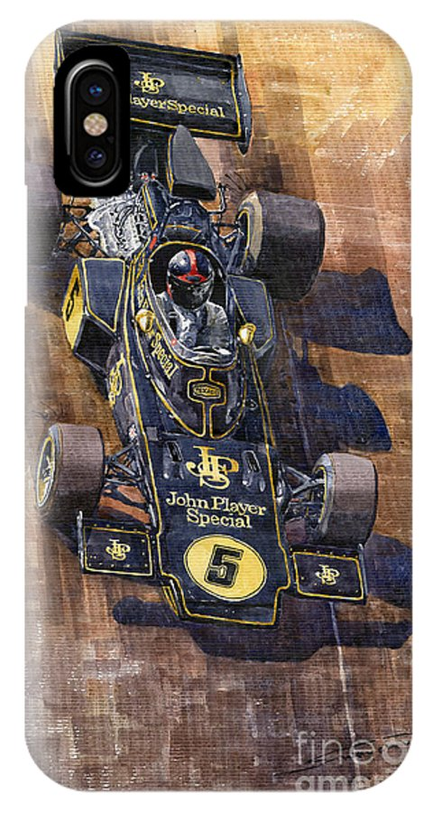 Watercolour IPhone X Case featuring the painting Lotus 72 Canadian Gp 1972 Emerson Fittipaldi by Yuriy Shevchuk