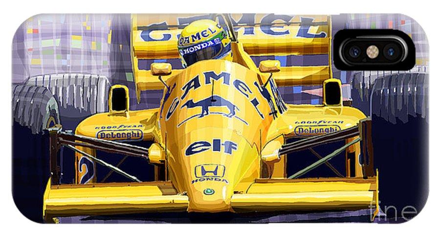 Automotive IPhone X Case featuring the digital art Lotus 99t Spa 1987 Ayrton Senna by Yuriy Shevchuk