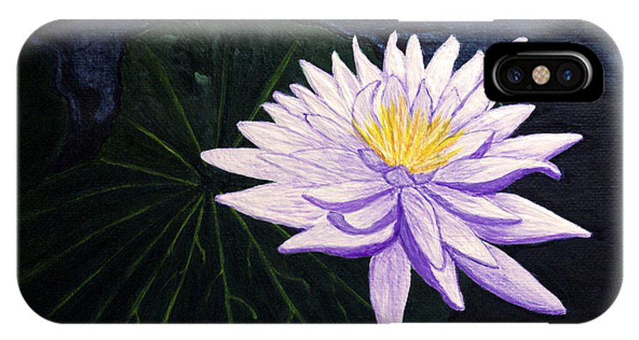 Original Painting IPhone X Case featuring the painting Lotus Blossom At Night by Patricia Griffin Brett